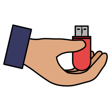 hands with usb memory vector illustration design