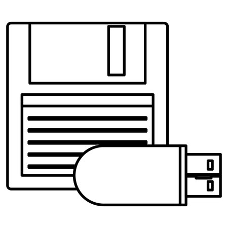 floppy disk with usb memory vector illustration design