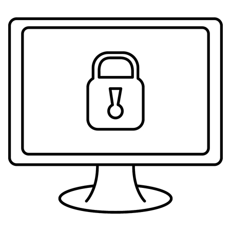 computer display with padlock vector illustration design