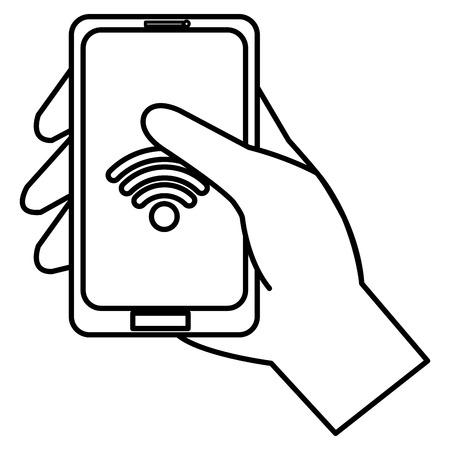 hand using smartphone with wifi signal icon vector illustration design Illusztráció