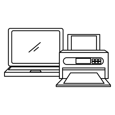 laptop computer with printer vector illustration design