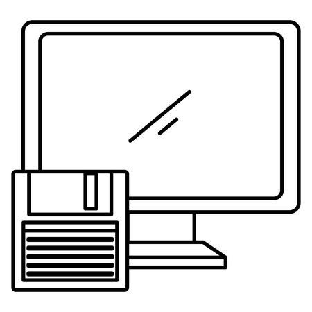 computer display with floppy disk vector illustration design