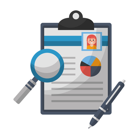 office clipboard fountain pen magnifying glass vector illustration