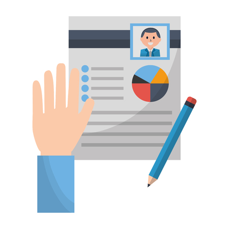 hand with clipboard pencil human resources vector illustration