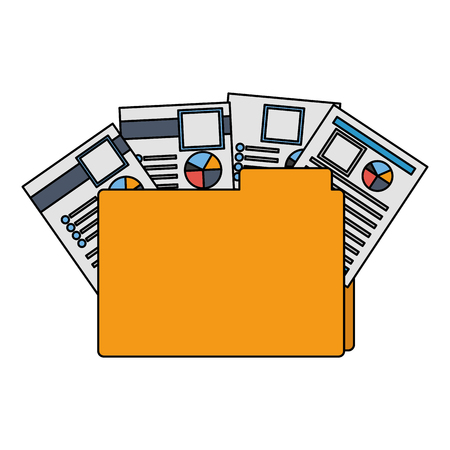 Office dossier fichier documents papier rapports vector illustration