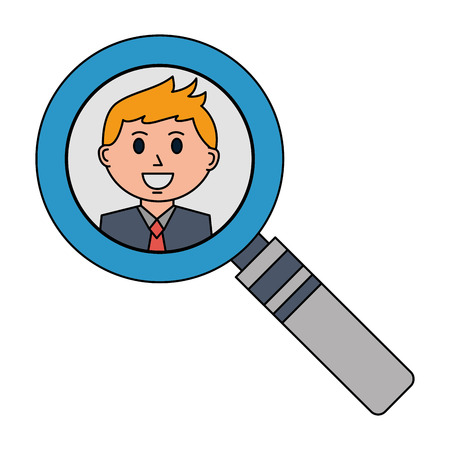 business man in magnifying glass vector illustration Ilustrace