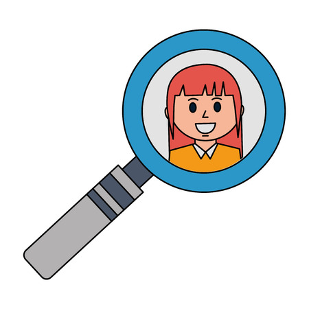 business woman in magnifying glass vector illustration Stok Fotoğraf - 105640068