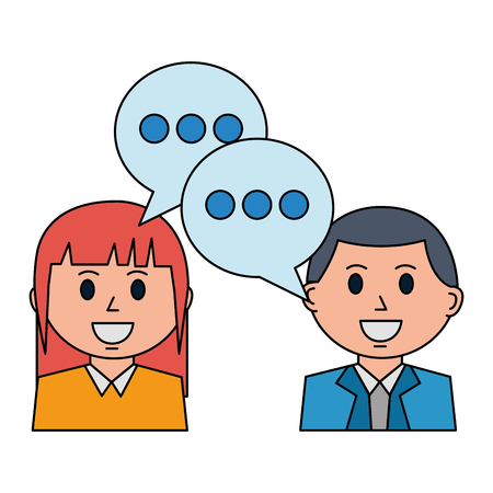business man and woman discussing speech bubble vector illustration Stock Vector - 112384727