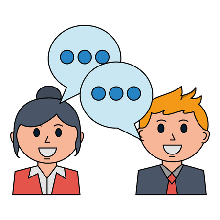 business man and woman discussing speech bubble vector illustration Stock Vector - 105640069