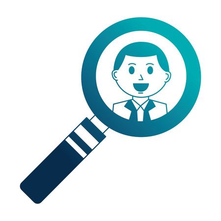 business man in magnifying glass vector illustration