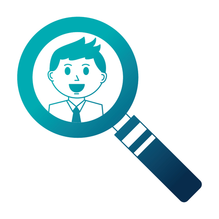 business man in magnifying glass vector illustration Vettoriali