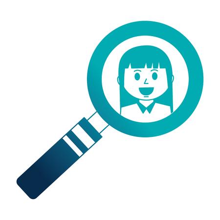 mujer de negocios, en, lupa, vector, ilustración