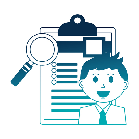 businessman and office clipboard magnifying glass vector illustration