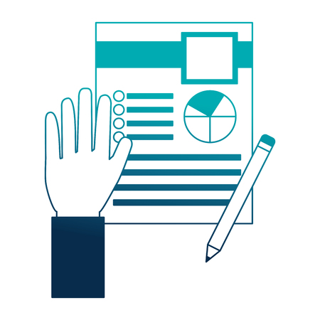 hand with clipboard pencil human resources vector illustration Illusztráció