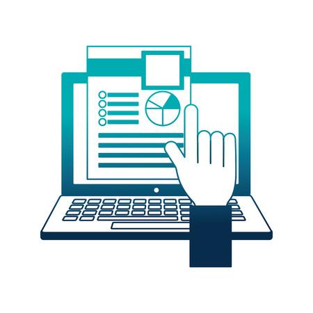 hand select cv laptop human resources vector illustration