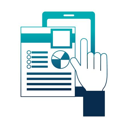 hand selecting human resources smartphone vector illustration Stock Illustratie