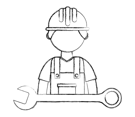 construction man worker in hardhat and wrench vector illustration sketch Stock Photo