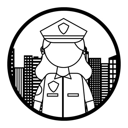 woman officer police with cityscape vector illustration design Standard-Bild - 105630963