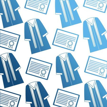 diploma and toga graduation pattern vector illustration design Stock Photo