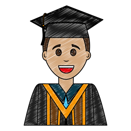 young man graduated avatar character vector illustration design Stok Fotoğraf