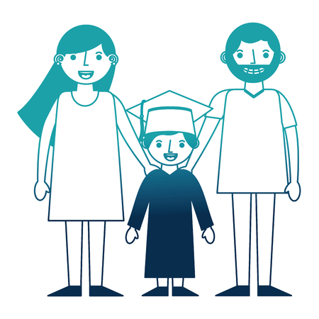 parents with boy graduted avatars characters vector illustration design