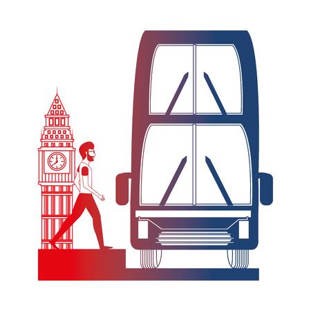 bus transport with man and big ben tower british vector illustration design Фото со стока - 105631186