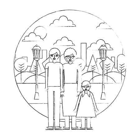 mom grandma and daugther in the park city vector illustration hand drawing