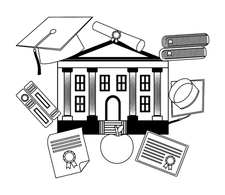school building with set education icons vector illustration design Foto de archivo - 105631390