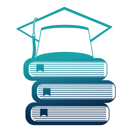 hat graduation with books vector illustration design