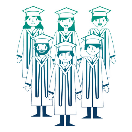 group happy smiling graduates in graduation gowns vector illustration neon design