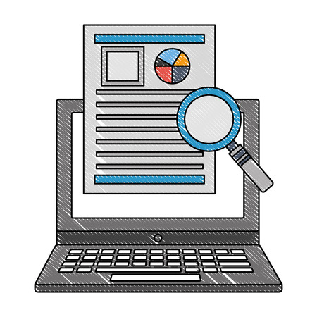 laptop computer with magnifying glass and document of statistics vector illustration design