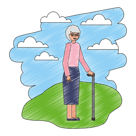 grandmother with stick cane in the landscape vector illustration Banque d'images - 112384781