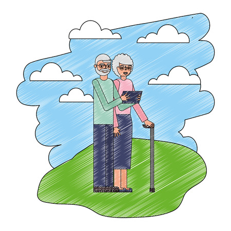 grandparents with phone and stick cane in the landscape vector illustration