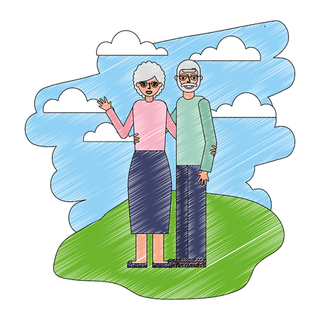 happy grandparent embraced in the landscape vector illustration