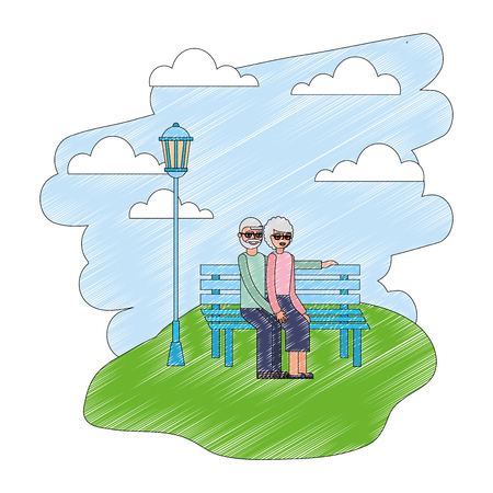 grandparents sitting in the bench park vector illustration