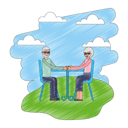 grandpa and grandma sitting chair with table landscape vector illustration Illustration