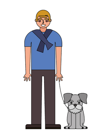 man standing near her schnauzer dog vector illustration