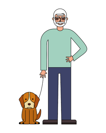grandfather standing with her dog vector illustration