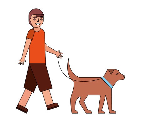 young boy walking with her dog pet vector illustration