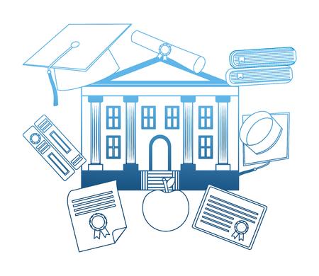 school building with set education icons vector illustration design Illustration