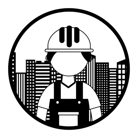 construction builder with cityscape vector illustration design