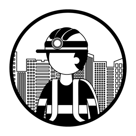 firefighter with cityscape character vector illustration design
