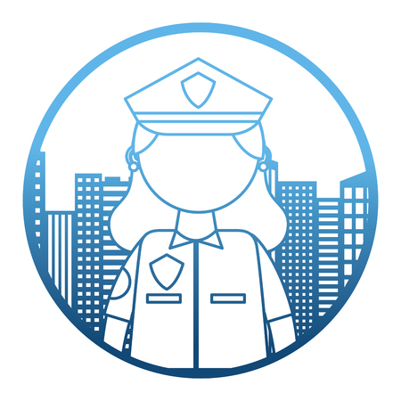 woman officer police with cityscape vector illustration design