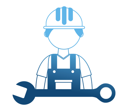 construction builder with wrench vector illustration design