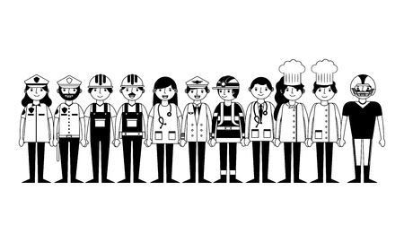 group of workers characters vector illustration design Banque d'images - 112384815