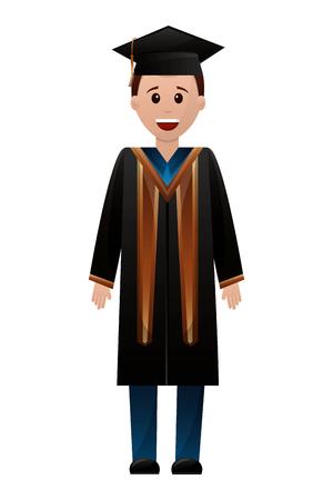 graduate man with graduation robe vector illustration  イラスト・ベクター素材