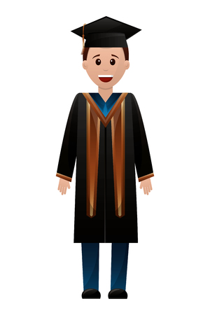 graduate man with graduation robe vector illustration Illustration