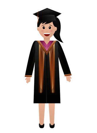 graduate woman in graduation robe and cap vector illustration Reklamní fotografie - 105558947