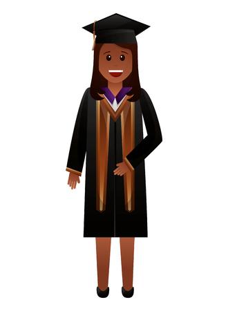 graduate woman in graduation robe and cap vector illustration