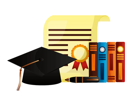 graduation hat certificate books and fountain pen vector illustration Illustration